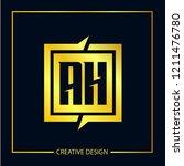 initial letter ah logo template ... | Shutterstock .eps vector #1211476780