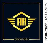 initial letter ah logo template ... | Shutterstock .eps vector #1211476876