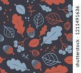 autumn seamless pattern   oak... | Shutterstock .eps vector #1211491636