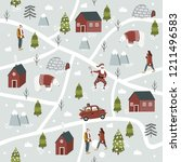 christmas seamless pattern with ... | Shutterstock .eps vector #1211496583