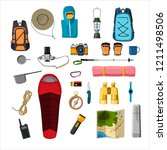 hiking and camping equipment | Shutterstock .eps vector #1211498506