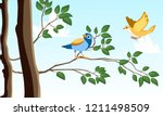 Stock vector birds on tree 1211498509