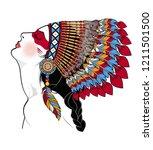 american indian girl in...   Shutterstock .eps vector #1211501500