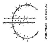 symbol euro sign made of barbed ... | Shutterstock .eps vector #1211501659