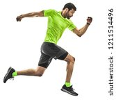 one caucasian man runner... | Shutterstock . vector #1211514496