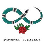 snake and roses.embroidery and... | Shutterstock .eps vector #1211515276