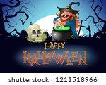 happy halloween flyer design.... | Shutterstock .eps vector #1211518966