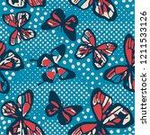 butterflies seamless pattern... | Shutterstock .eps vector #1211533126
