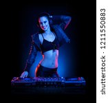 hot dj woman in party outfit ... | Shutterstock . vector #1211550883