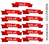 set of red sale ribbons with... | Shutterstock .eps vector #1211553856
