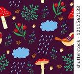 cute autumn pattern with birds... | Shutterstock .eps vector #1211562133