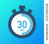the 30 minutes  stopwatch... | Shutterstock .eps vector #1211564236