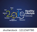 healthy lifestyle 2019 word... | Shutterstock .eps vector #1211569780