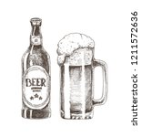 beer bottle and glass cup... | Shutterstock .eps vector #1211572636