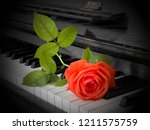 Red Rose On Piano Flaps  ...