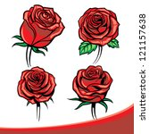 Stock vector vector roses set 121157638
