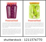 preserved food banners set with ... | Shutterstock .eps vector #1211576770