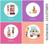 shopping women in stores buying ...   Shutterstock .eps vector #1211576803