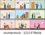 boss working in office ... | Shutterstock .eps vector #1211578606