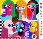 five women and a man vector... | Shutterstock .eps vector #1211590003