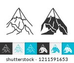 mountain black linear and glyph ...   Shutterstock .eps vector #1211591653