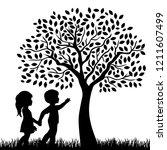kids and beautiful tree  vector ... | Shutterstock .eps vector #1211607499