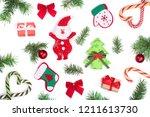 christmas background with fir... | Shutterstock . vector #1211613730