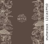 background with nettle  plant ... | Shutterstock .eps vector #1211619910