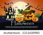 happy halloween poster design...   Shutterstock .eps vector #1211630983