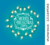 blue shiny merry christmas... | Shutterstock .eps vector #1211649343
