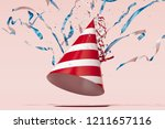 festive party popper with... | Shutterstock . vector #1211657116