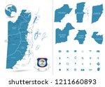 belize map and regions.... | Shutterstock .eps vector #1211660893