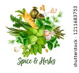 spice and herbs  vector. bunch... | Shutterstock .eps vector #1211683753