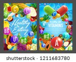 food rich in vitamins  vector... | Shutterstock .eps vector #1211683780
