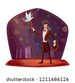 magician conjured pigeon out of ... | Shutterstock .eps vector #1211686126