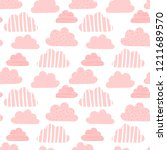 seamless pattern of pink clouds ... | Shutterstock .eps vector #1211689570