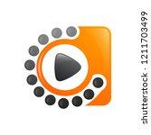 motion dot media player video... | Shutterstock .eps vector #1211703499