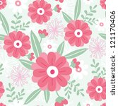 pink flowers and green leaves... | Shutterstock .eps vector #121170406