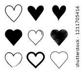 vector set heart black  outline ... | Shutterstock .eps vector #1211705416