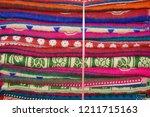 indian wool bedspreads in the... | Shutterstock . vector #1211715163