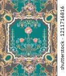 baroque damask pattern ... | Shutterstock . vector #1211716816