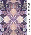 baroque damask pattern ... | Shutterstock . vector #1211720389
