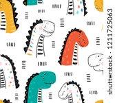 cartoon cute dinosaurs vector...   Shutterstock .eps vector #1211725063