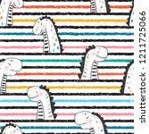 cartoon cute dinosaurs vector... | Shutterstock .eps vector #1211725066