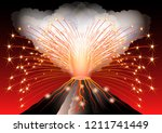 volcano eruption. hot flame and ... | Shutterstock .eps vector #1211741449