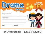 a drama diploma certificate... | Shutterstock .eps vector #1211742250