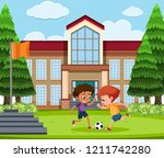 boys playing football at school ... | Shutterstock .eps vector #1211742280