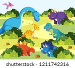 many dinosaur in nature... | Shutterstock .eps vector #1211742316