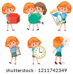 children holding math objects... | Shutterstock .eps vector #1211742349