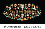 day of the dead greeting card... | Shutterstock .eps vector #1211742763